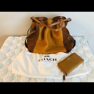 Authentic Coach Edie Shoulder Bag 42 Cognac